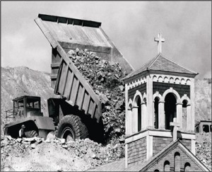 The Holy Savior church was buried under waste rock to make way for the continued expansion of the Berkeley Pit.