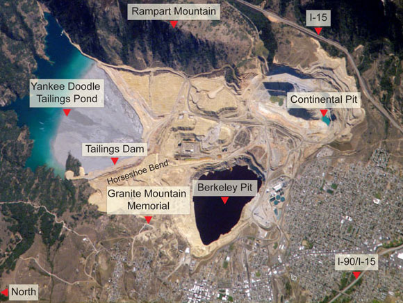 This 2002 photo from the NASA Earth Observatory shows the Berkeley Pit and surrounding area prior to the construction of the Horseshoe Bend Water Treatment Plant and the resumption of mining at the Continental Pit.