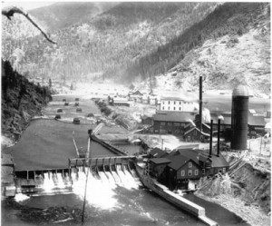 The Stimson Dam on the Blackfoot River at Bonner, Montana. Copper King Marcus Daly utilized the dam and associated milling company to provide timber for the Butte mines and Anaconda smelter. The dam was removed in 2006.